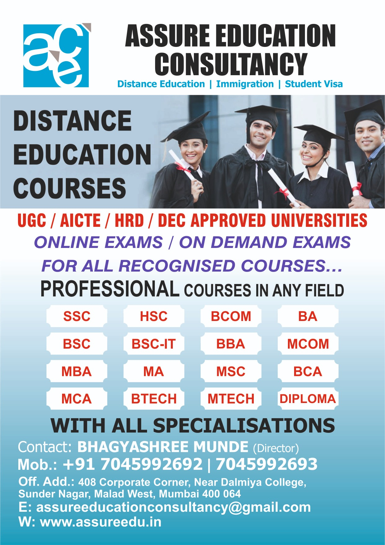 COMPLETE BA/BCOM/BSC/BTECH OR DIPLOMA FROM UGC UNIVERSITY..CALL/WHATSAPP BHAVNA ON +917045992693..